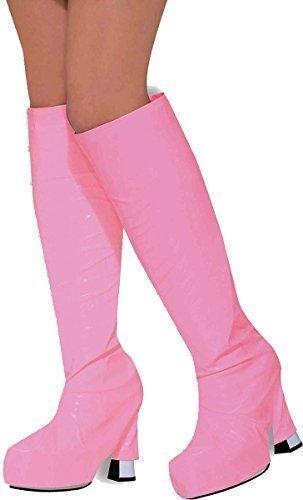 Damen Erwachsene 1970er Jahre Kostüm Party Zubehör Retro Go Go Stiefelstulpe Abdeckung - Rosa, Einheitsgröße (Jahre Top 1970er)
