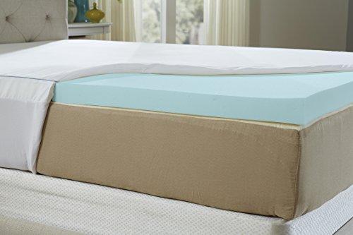 Natures Sleep Aircool IQ voller Größe 6,3cm Dick 1,3kg Dichte Gel Memory Foam Matratzenauflage mit Mikrofaser Bezug ausgestattet und 45,7cm Rock, Memory-Foam, weiß, Twin