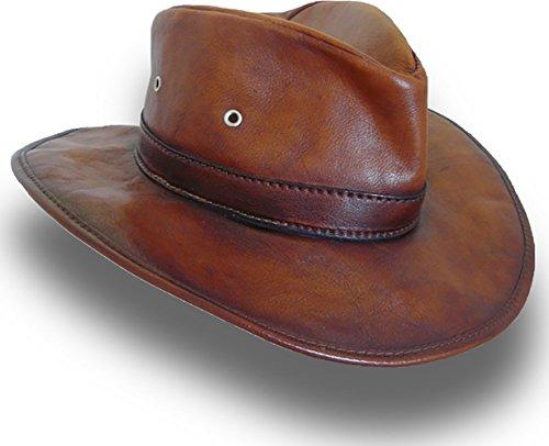 Pratesi Pelletterie, Zubehör: Cagliostro Hut 57cm aus echtem Leder Braun