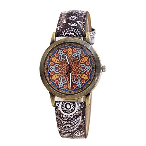 VJGOAL Damen Uhren, Frauen Mädchen Ultradünne Elegant Armbanduhren Mode Trend Minimalistisches Kontrastfarbe Freizeit Blaues und Weißes Porzellan Bronze Drucken - Minimalistische Kostüm