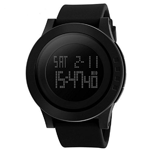 Qbd da uomo digitale militare orologio sportivo quadrante grande Business casual 5atm impermeabile orologi per uomo gomma LED semplice Citizen sport orologio nero