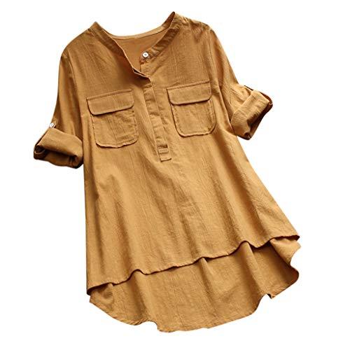 Frauen Beiläufige Baumwollleinen Lose Halbe Hülsen Feste T Shirt Bluse Oberseite Einfarbiges Taschentop Aus Baumwolle Und Leinen Mit Rundhalsausschnitt Damen Flat Front Chino