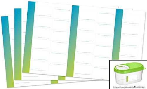 Kigima 90 edle Aufkleber Sticker Klebe-Etiketten Leer 4x2cm rechteckig blau-grün Ombre-Look perfekt für Geschenke, Hochzeit oder Tischdeko Leer Eingelegte Gläser