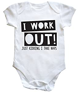 HippoWarehouse I Work Out! Just Kidding I Take Naps - Gym baby vest boys girls