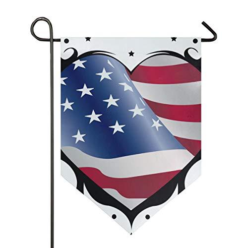 SENNSEE Hausflagge Patriotische amerikanische Flagge Love Garden Flag 30,5 x 45,7 cm doppelseitig dekorative Hofflagge für Zuhause Dekoration Outdoor, Polyester, Multi, 12x18.5