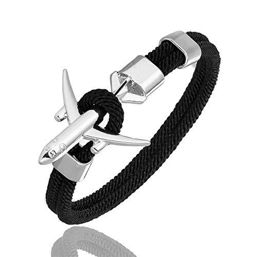 XIAOHA Herrenarmband Mode Flugzeug Anker Armbänder Männer Charme Seil Kette Armband Männlichen Frauen Air Force Style Wrap Sport Haken