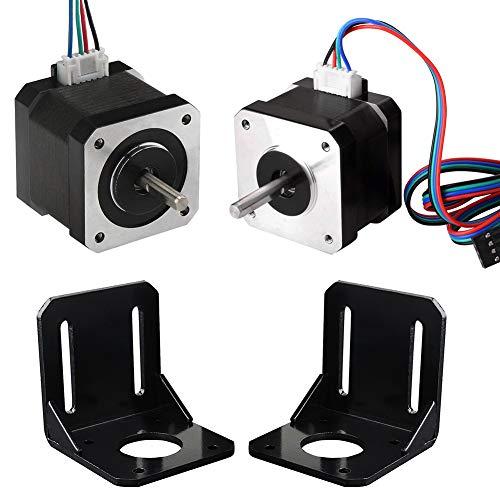 KeeYees Professioneller 3D Drucker CNC Kit, 2 Stück Nema Bipolar 17 Schrittmotor 1.7A 59Ncm (84oz.in) 47mm mit 2 Stück 4Pin 1M Schrittmotor Kabel + 2 Stück Montagewinkel mit Schrauben