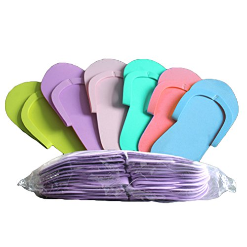 Lurrose 12 Paar Einweg-Pediküre-Hausschuhe aus Schaumstoff, bunt, Flip Flops für Salon Spa Pediküre, zufällige Farbe - Pedi Hausschuhe