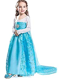 FREEFLY Girls Frozen Princess Dress Cosplay Party Fancy Outfit Kids 2afcd461e8ec