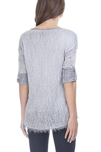 Laura Moretti Seident-shirt mit verstellbaren Ärmeln Grau