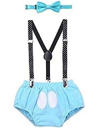 TiaoBug 3Pcs Disfraz de Mickey Infántil Bebés para Primer Cumpleaños Fiestas Carnaval Pantalones Cortos de Peto con Liga Ajustable Chulo Niños Bombachu Pelele Sets Infántil