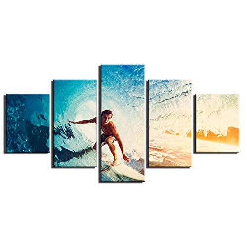 xwwnzdq 5 Panels Leinwand Kunst Malerei Moderne Surfen Bilder Druck Auf Leinwand Kunst Galerie Leinwand Malerei für Schlafzimmer Wohnzimmer Wand-dekor (Galerie Surfen)