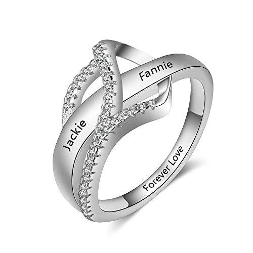 Anelli Yuan Ou Surround Heart Design Regalo Inciso Nomi Anelli per Le Donne Promessa Amore Anniversario Gioielli 6 Come Mostrato