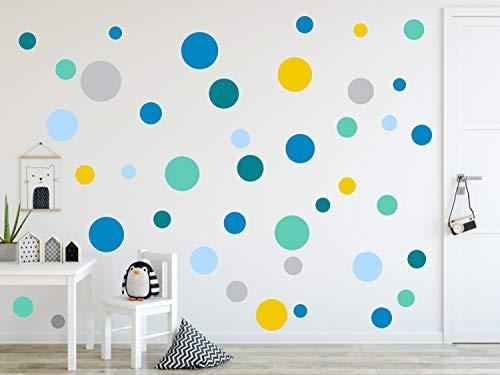 timalo® 120 Stück Wandtattoo Kinderzimmer Kreise Pastell Wandsticker - Aufkleber Punkte | 73078-SET25-120 blau gelb mint -