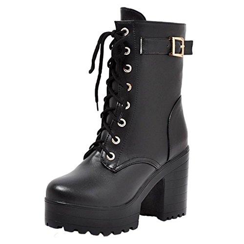 Nonbrand Damen Rock Stil Blockabsatz Stiefelette Spitze bis viktorianischen Schuhe, Schwarz - schwarz - Größe: 43