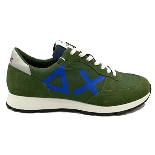 Sun 68 Scarpe da Uomo Sneakers Running Sportive Ginnastica in Pelle Blu Verde Bianche Bianco Calzature Z19107 Niky Nylon Shoes Nuove Comode Fondo Gomma Casual Verde Militare, 44