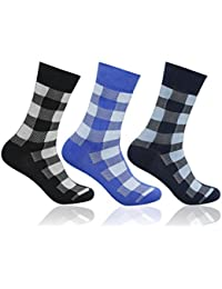 Supersox Men's Pack of 3 Regular Combed Cotton Checked Socks