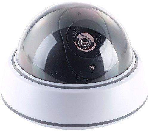 VisorTech Kamera Attrappe: Dome-Überwachungskamera-Attrappe mit durchsichtiger Kuppel und LED (Dummy Camera)