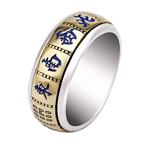 Punkring,Vintage Original/925 Sterling Silber 13 Mahjong Ring Männlich Tide Rotierende Persönlichkeit Spielen Muss Gewinnen Männer Win Money Transfer Ring Frauen/Männer Und Frauen Ringen, 14. (Männliche Sterling Silber Ringe)