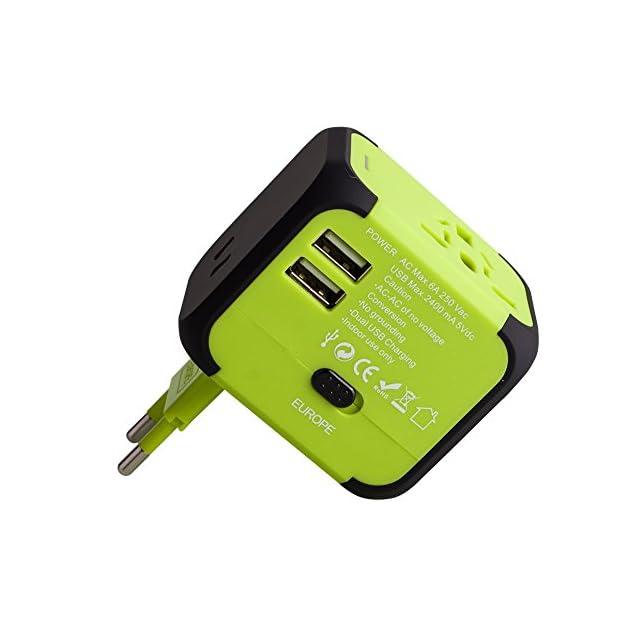 Voyage Adaptateur avec 2 USB MILOOL Adapteur Chargeur USB Convertisseur pour US UK UA EU Environ 150 Pays Universel Multi- Prise de Courant Chargeur avec Fusible de Sécurité Dual USB(vert) ?