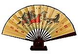 XMorning Ventaglio Elegante in Seta e bambù, Stile Tradizionale Cinese (Otto Cavalli)