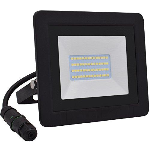 Lumaro LED Strahler 20W Extraflach Flutlicht IP65 3000k für außen und innen inkl. IP68 Stromverbinder warmweiß