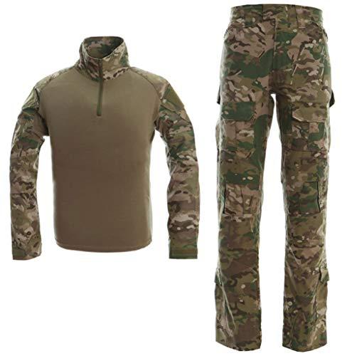 LANBAOSI Taktischer Anzug BDU Kampfshirt Hose für Herren Langarm Ripstop Multicam Militär Uniform Set Airsoft Woodland Jagd Gr. S, Lcp -