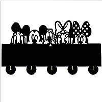 AUUNY Mickey Minnie Cartoon Animation Clothes Hat Key Hook/Coat Rack/Wall Hook Home Decoration Wall Stickers Kitchen Bathroom Towel Hook,Black