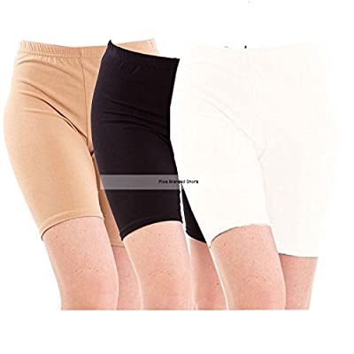 Pixie Women Cotton Lycra Cycling Shorts - Pack of 3 (Beige, Black and White, Free Size)