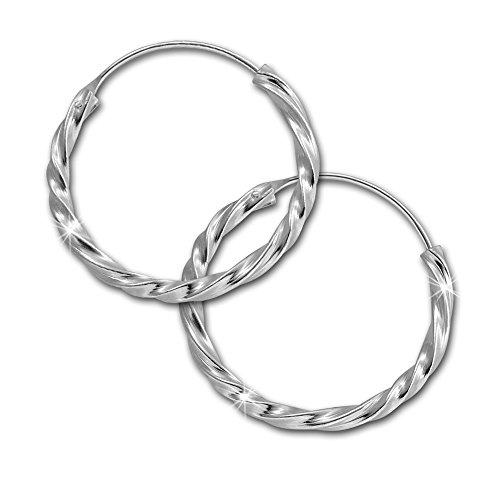 SilberDream Ohrringe 20mm Damen-Schmuck 925er Silber Creolen gedreht SDO87122
