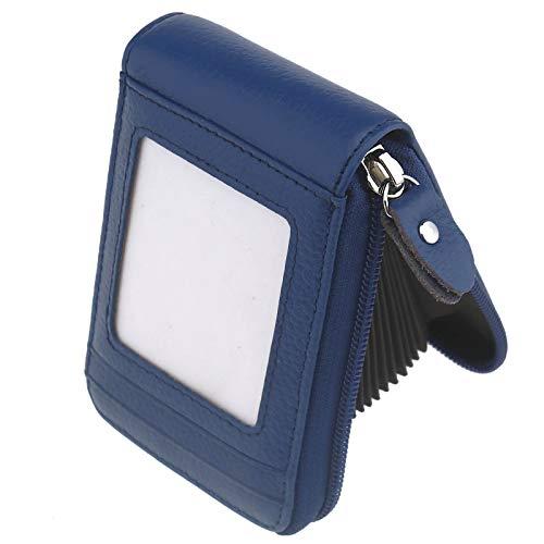 ENET Mini Cartera de Piel auténtica Tarjeta de crédito (Fiber de Carbono Tarjetas RFID Titulaire de Bolsillo Zip Purse Coin Bolsa, Negro/Azul/Violeta Azul