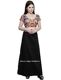 Pistaa'S Women's Cotton Straight Petticoat (Ptcblk_Black_Free Size)