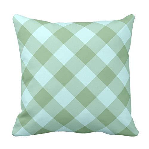 MrRui Aqua and Dark Sea Green Gingham Kissenbezug Pillow Case Cushion Cover 18 x 18 inches
