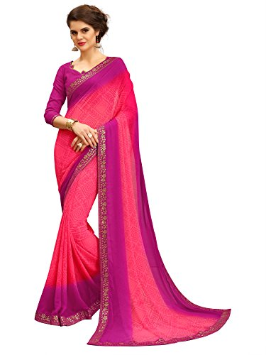 TAGLINE Faux Georgette Saree With Blouse Piece(Tag15004_Pink Free Size)