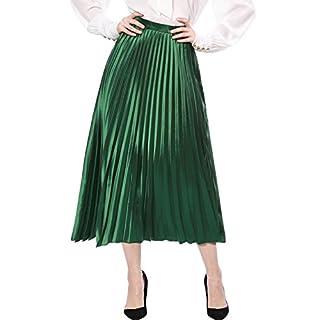 Allegra K Women's Accordion Pleated Metallic Midi Skirt L Green