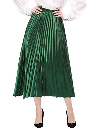 Allegra K Falda Midi De Acordeón Metálica Plisada para Mujer - Verde/L