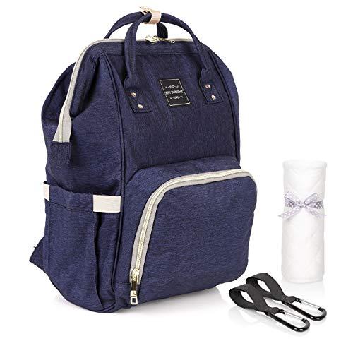 KEY SUPREME Wickeltasche - Extra großer Wickelrucksack für Babys - Multifunktionale Babytasche mit vielen Staufächern - mit Allzwecktuch und Karabinerhaken für Kinderwagen I Kinderwagentasche (Blau)