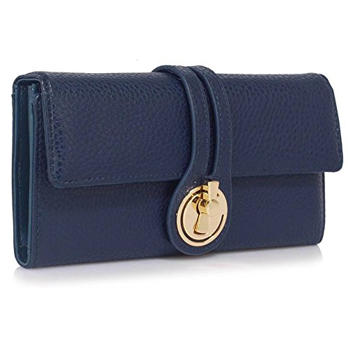 LeahWard® Genuine Kunstleder Geldbörsen Brieftaschen Mode nett Groß Geldbörsen Tasche Marine 1078