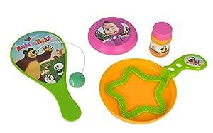 Simba 109303187 - Masha y el Oso de Varias Conjunto con pompas de jabón Juego, Juegos del Palo-y-Ball y Mini Disco Volador