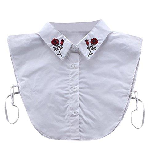 Kolylong Damen Frauen Elegant Blusenkragen mit Spitze Mode Spitze Kragen Abnehmbare Hälfte Shirt Bluse Vintage Hemd Tank Crop Top Abnehmbare Halsbänder Collars (White) (Collar-kleid Shirt White)