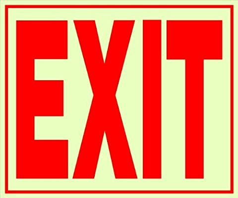 The Hillman Group 840201 11-Inch by 12-Inch Plastic Glow-In-The-Dark Exit Sign by The Hillman Group