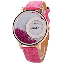 WINWINTOM Leather Quicksand Rhinestone Quartz Bracelet Wrist Watch Hot Pink