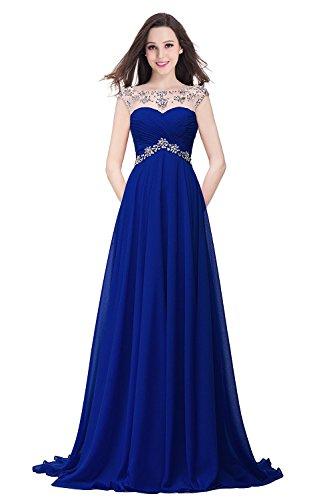 Damen Elegant Glitzer Abendkleid Cocktailkleid Abiballkleid Ärmellos Lang Royalblau Gr.42