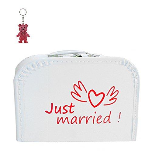 Hochzeitskoffer (mit Borde) Pappe weiß Just married! 25 cm inkl. 1 Reflektorbär, Malkoffer, Spielzeugkoffer, Kinderkoffer
