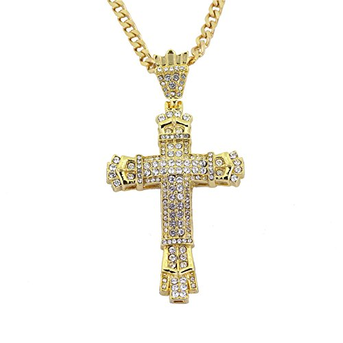 ORKST Hip Hop Halskette, Alle Diamant Herren Kreuz Anhänger Halskette, Kettenlänge 70Cm,Gold (Männer Gold Diamant Kreuz Anhänger)