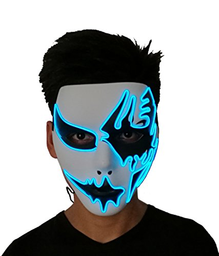 2018 Halloween Horror Light Up Clown Maske - Scary Maske Halloween Cosplay LED Kostüm EL Draht Maske blau (Halloween Scary Clown-kostüm Für)