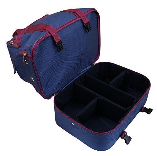 Farne-Nylon Vier Schüssel Level Rasen flach grün kurz Matte Schalen Tasche Navy Blue/Burgundy