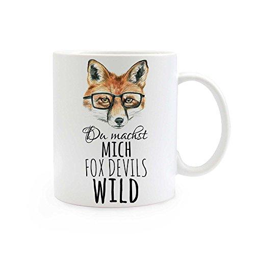 ilka parey wandtattoo-welt Tasse Fuchs mit Brille und Spruch du Machst Mich Fox Devils wild ts299