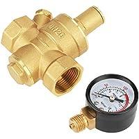 Regulador de presión, reductor de regulador de presión de agua ajustable de latón DN20 con medidor de indicador