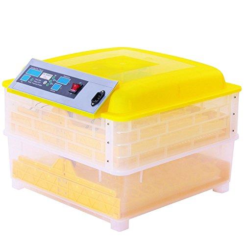 BuoQua Brutapparat für Hühner 96 Eier Vollautomatisch Brutmaschine mit Zeitsachaltuhr Automatische Inkubator Geflügel Thermometer Brutmaschine(160W)